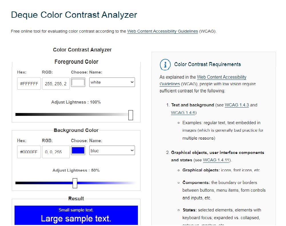 Deque Free Online Contrast Checker Tool