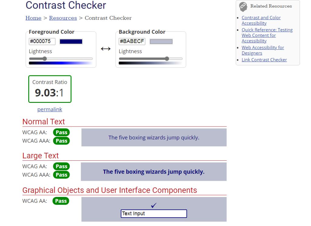 WebAIM  Free Online Contrast Checker Tool