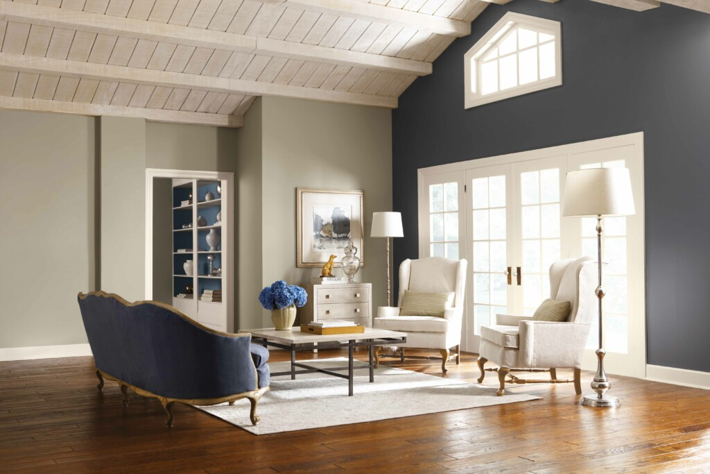 a picture of a living room where the color of gray accent is used, which is a neutral color.