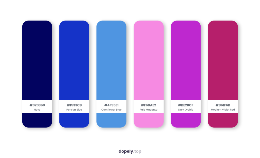 Color palette inspiration by Dopely color palette generator with: Navy (020360) + Persian Blue (1533C8) + Cornflower Blue (4F95E1) + Pale Magenta (F68AE2) + Dark Orchid (BE28CF) + Medium Violet Red (B61F6B)
