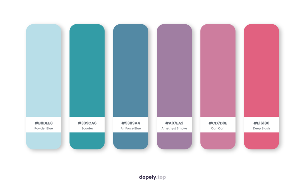 Color palette inspiration by Dopely color palette generator with: Powder Blue (B8DEE8) + Scooter (339CA6) + Air Force Blue (5389A4) + Amethyst Smoke (A07EA2) + Can Can (CD7D9E) + Deep Blush (E16180)
