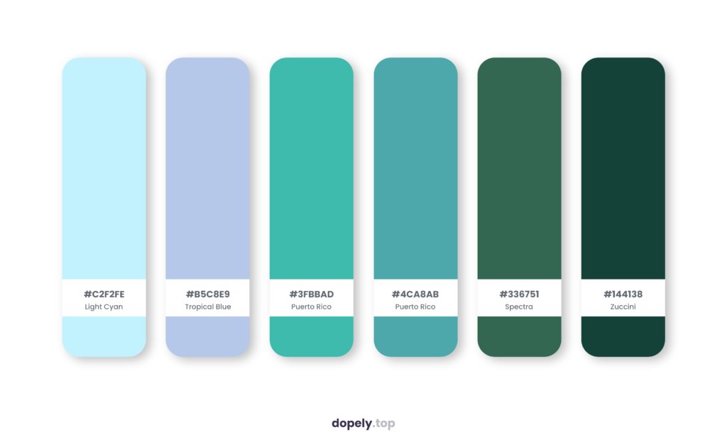 Color palette inspiration by Dopely color palette generator with: Light Cyan (C2F2FE) + Tropical Blue (B5C8E9) + Puerto Rico (3FBBAD) + Puerto Rico (4CA8AB) + Spectra (336751) + Zuccini (144138)