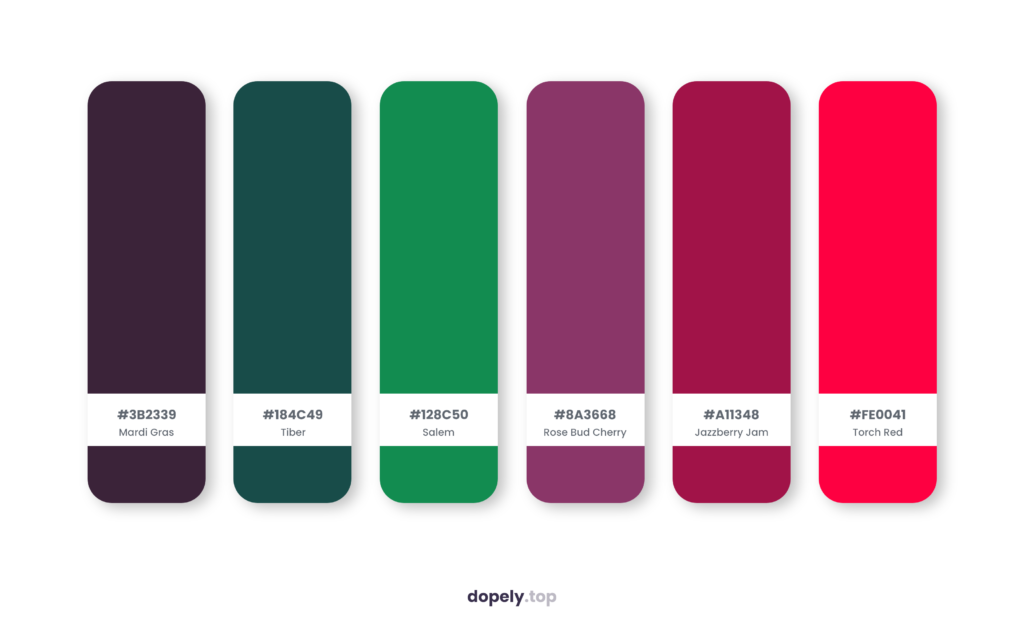 Color palette inspiration by Dopely color palette generator with: Mardi Gras (3B2339) + Tiber (184C49) + Salem (128C50) + Rose Bud Cherry (8A3668) + Jazzberry Jam (A11348) + Torch Red (FE0041)