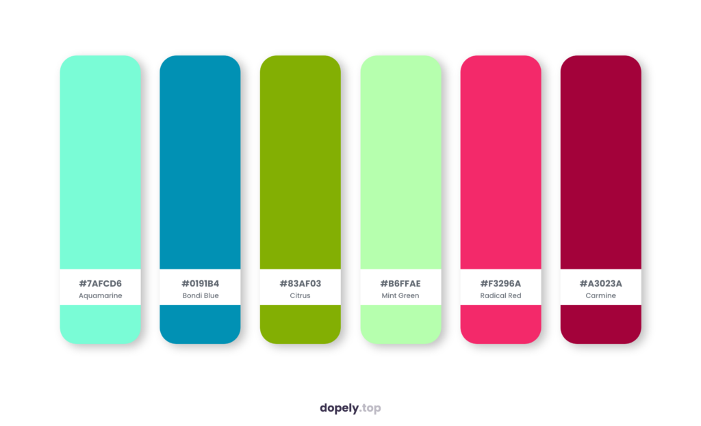 Color palette inspiration by Dopely color palette generator with: Aquamarine (7AFCD6) + Bondi Blue (0191B4) + Citrus (83AF03) + Mint Green (B6FFAE) + Radical Red (F3296A) + Carmine (A3023A)