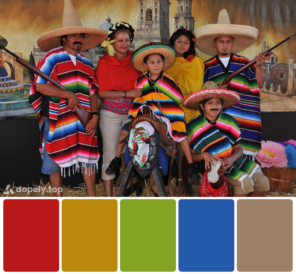 Dopely color palette of mexican family image with fiesta festivale costumes consisting of blue, yellow, red, green and gray.