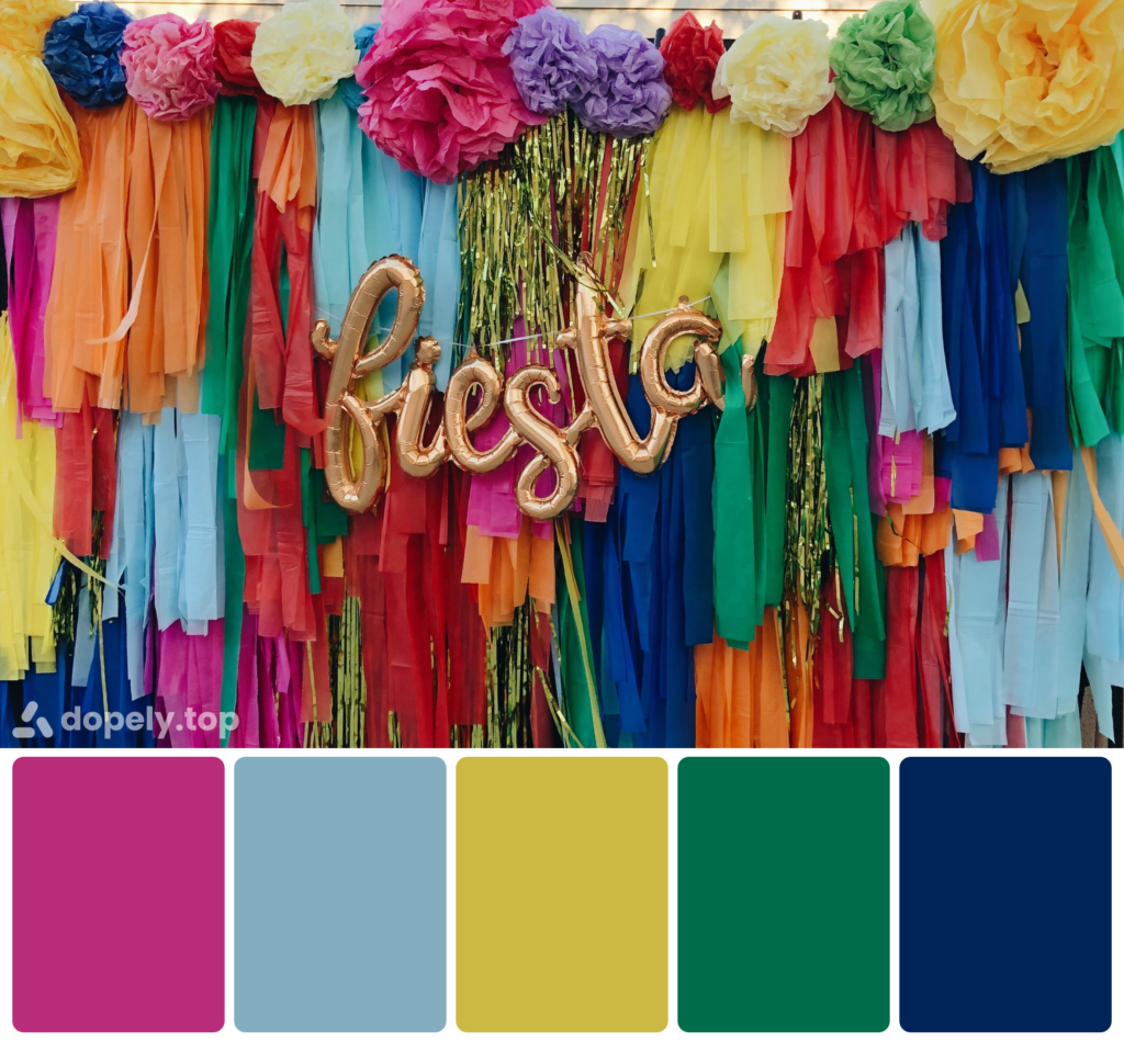 dopely color palette of mexican fiesta festive decorations image in dark blue, light blue, green, orange and magenta