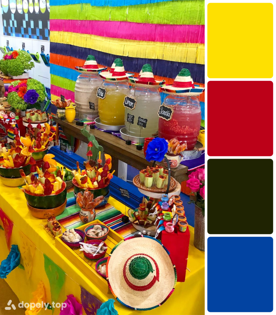 Dopely color palette of the image of a table full of colorful fiesta festive snacks including yellow, red, black and blue.