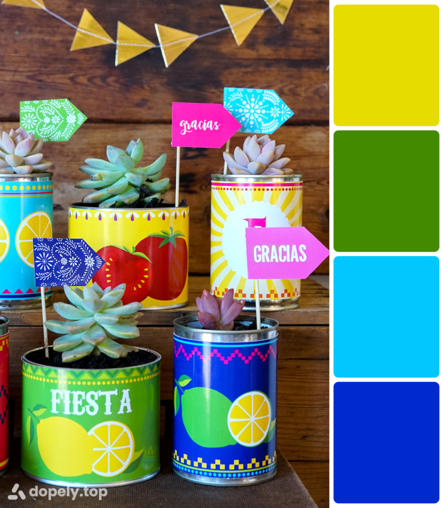 Dopely color palette of the image of fiesta festive cactus pots in green, yellow, dark blue and light blue colors.