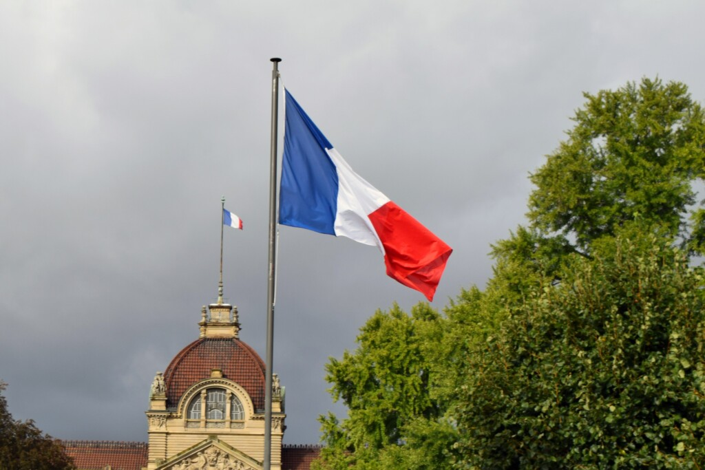 photo about France national colors, France flag