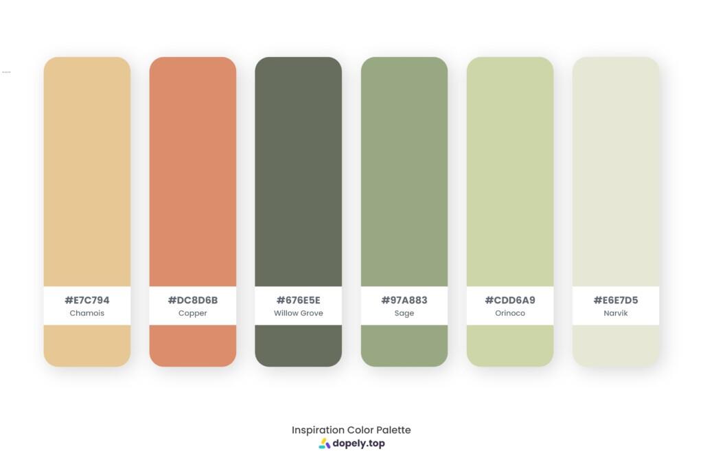 Color palette inspiration made by Dopely color palette generator with Chamois (E7C794) + Copper (DC8D6B) + Willow Grove (676E5E) + Sage (97A883) + Orinoco (CDD6A9) + Narvik (E6E7D5)