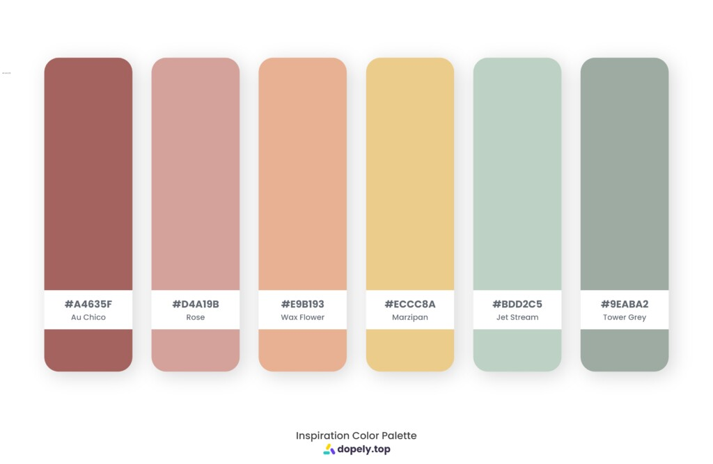Color palette inspiration made by Dopely color palette generator with Au Chico (A4635F) + Rose (D4A19B) + Wax Flower (E9B193) + Marzipan (ECCC8A) + Jet Stream (BDD2C5) + Tower Grey (9EABA2)