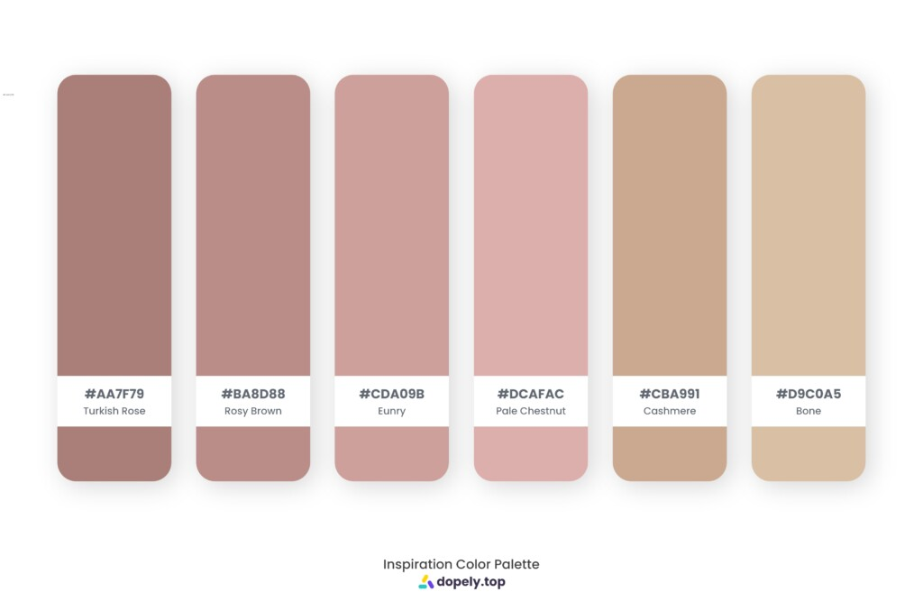 Color palette inspiration made by Dopely color palette generator with Turkish Rose (AA7F79) + Rosy Brown (BA8D88) + Eunry (CDA09B) + Pale Chestnut (DCAFAC) + Cashmere (CBA991) + Bone (D9C0A5)