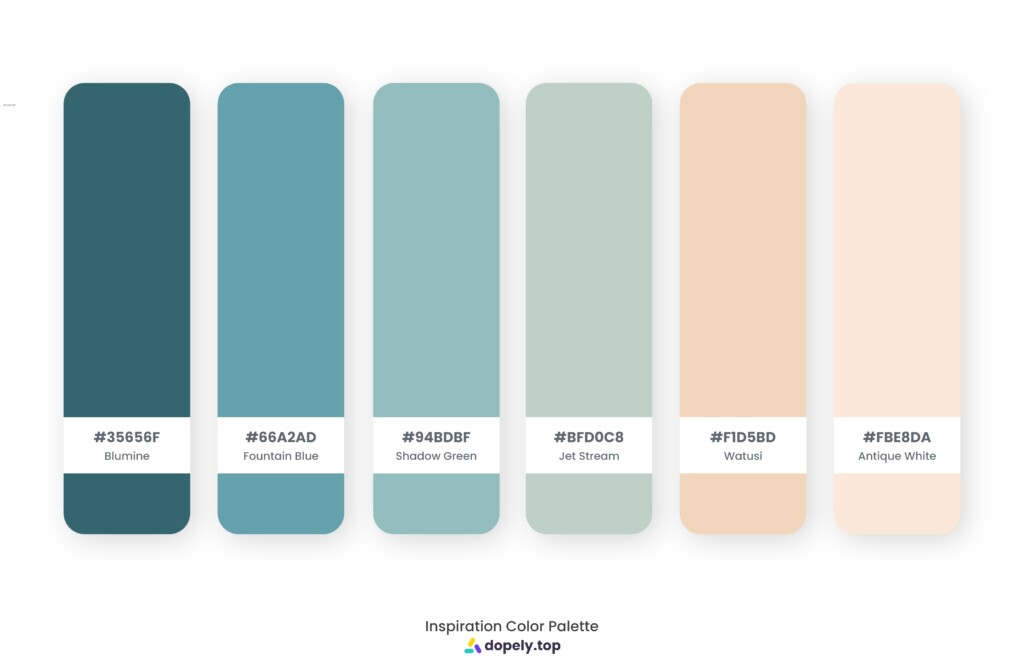 Color palette inspiration made by Dopely color palette generator with Blumine (35656F) + Fountain Blue (66A2AD) + Shadow Green (94BDBF) + Jet Stream (BFD0C8) + Watusi (F1D5BD) + Antique White (FBE8DA)