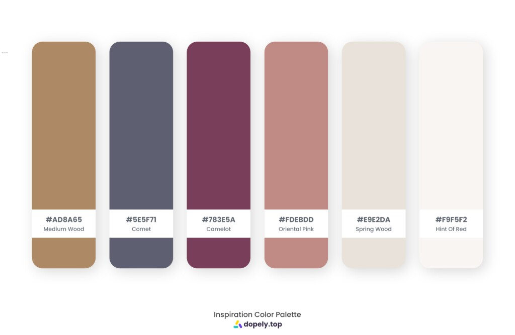 Color palette inspiration made by Dopely color palette generator with Medium Wood (AD8A65) + Comet (5E5F71) + Camelot (783E5A) + Oriental Pink (C08B85) + Spring Wood (E9E2DA) + Hint Of Red (F9F5F2)