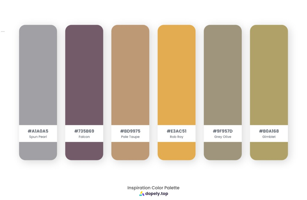 Color palette inspiration made by Dopely color palette generator with Spun Pearl (A1A0A5) + Falcon (735B69) + Pale Taupe (BD9975) + Rob Roy (E3AC51) + Grey Olive (9F957D) + Gimblet (B0A168)