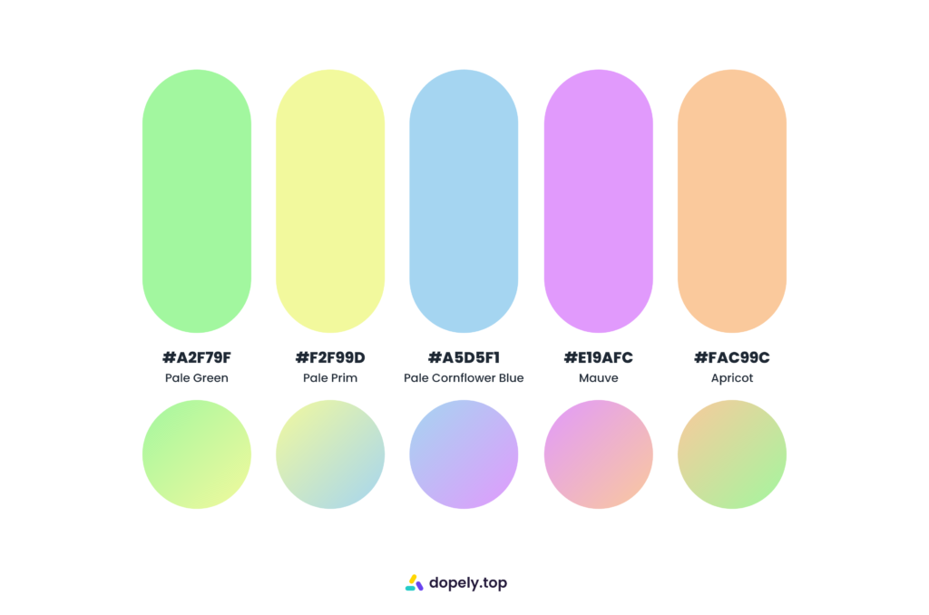 Fresh sugary color palette inspiration by Dopely color palette generator