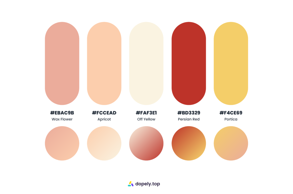 Hot and sugary color palette by Dopely color palette generator