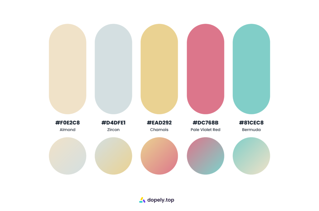 old fashion sugary color palette by Dopely color palette generator