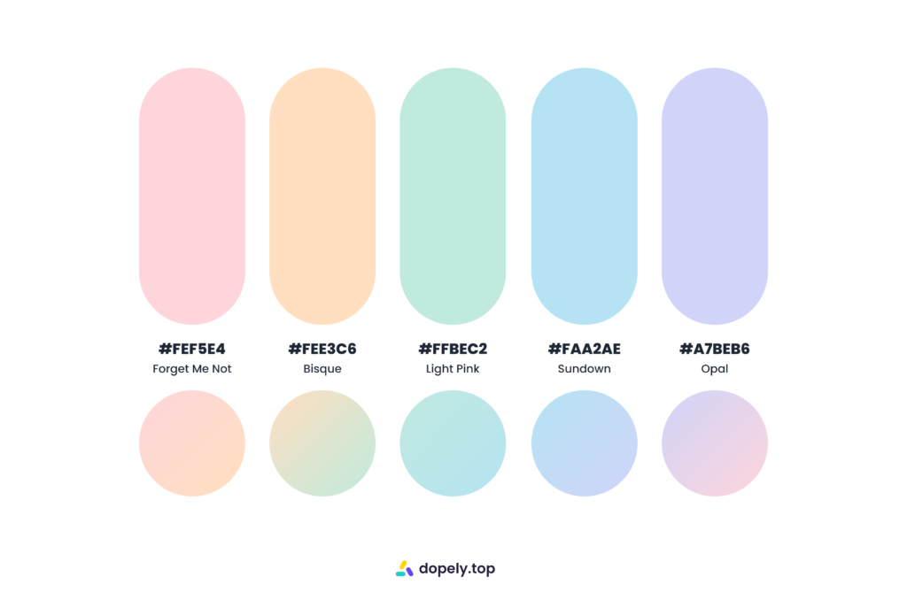 pastel sugary color palette by Dopely color palette generator
