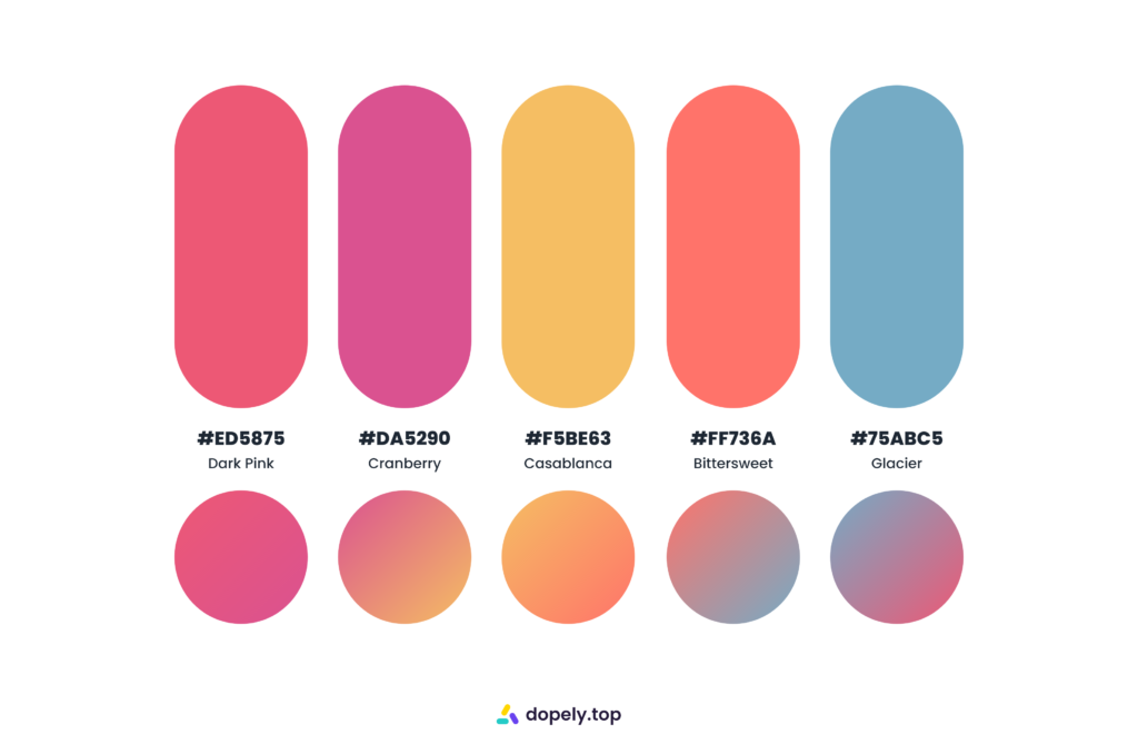 Vivid sugary color palette by Dopely color palette generator