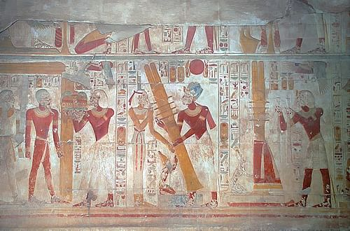 Egyptian colors, red. red color in ancient Egyptian painting.