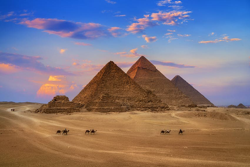 Egyptian pyramids, featuring Egyptian colors