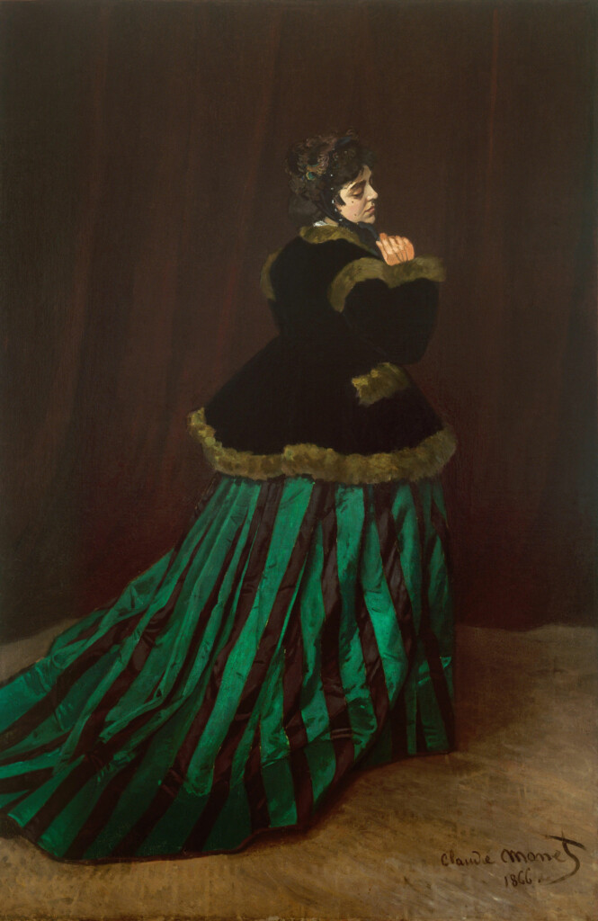 emerald green in Woman in a Green dress of Claude Monet (1866)