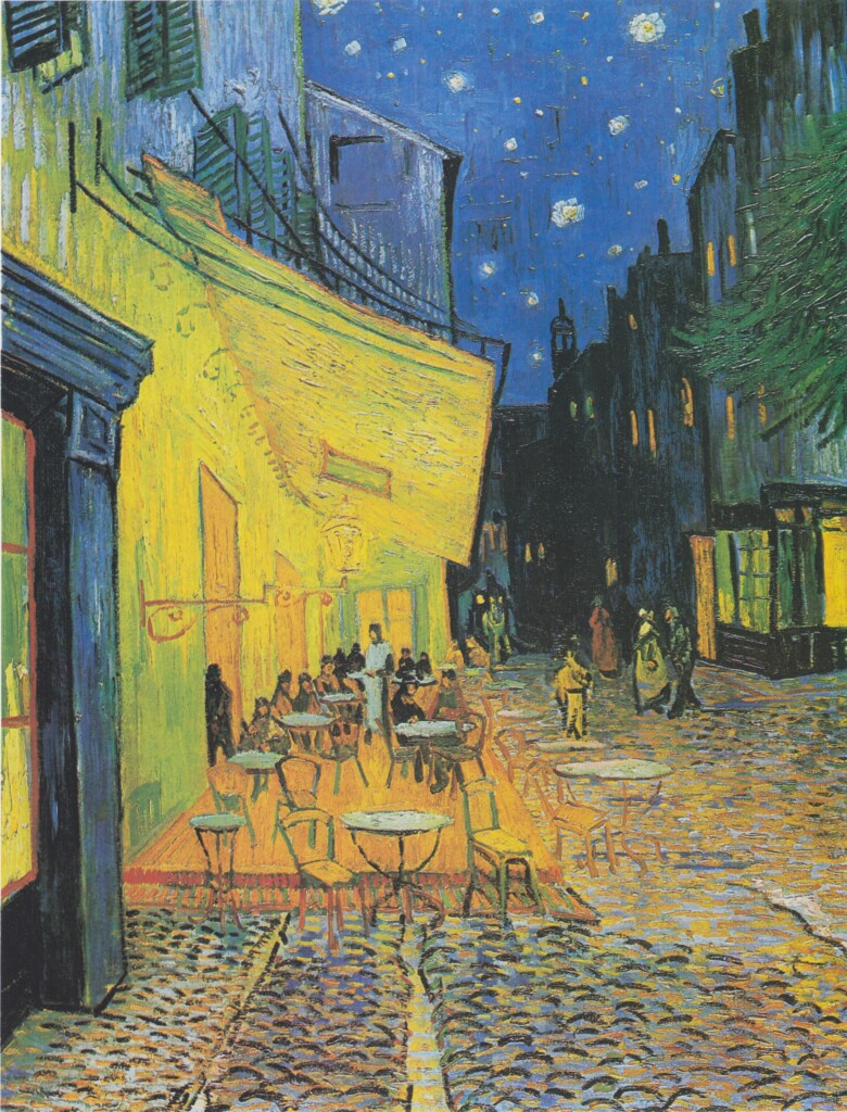 Viridian green in Cafe Terrace at Night of Vincent Van Gogh (1888)