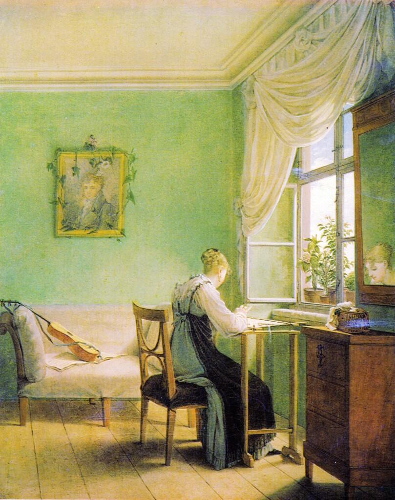 Scheele's green in Embroidery Woman of Georg Friedrich Kersting (1812)