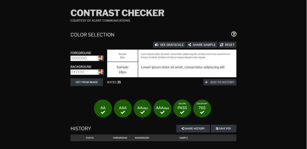 CONTRAST CHECKER Free Online Contrast Checker Tool