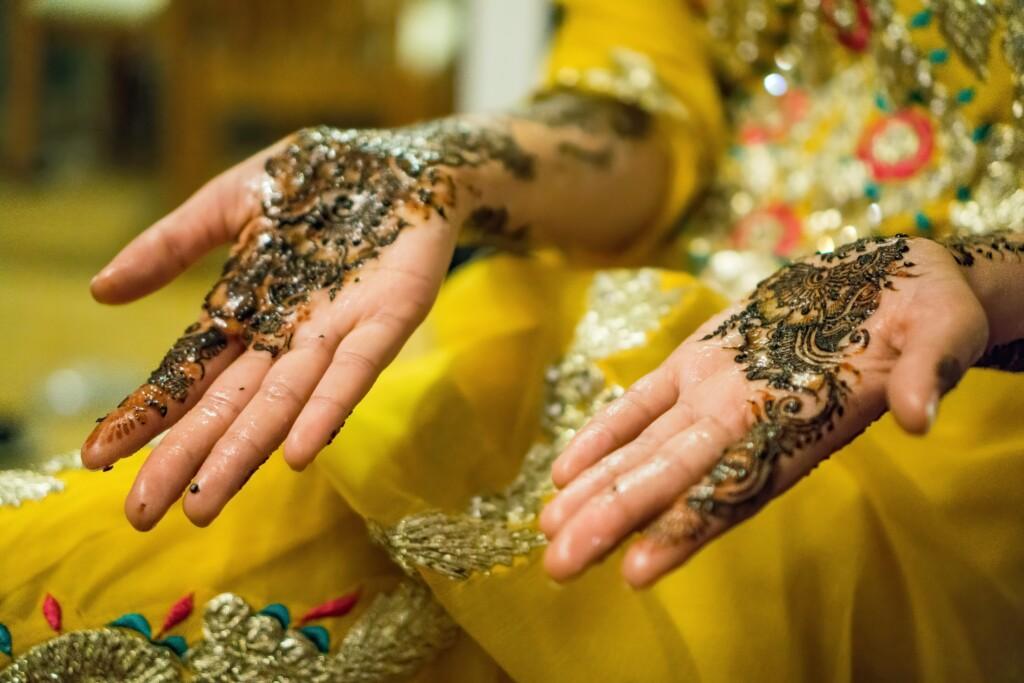 in haldi ceremony, brides wear yellow dress.